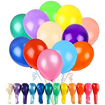 RUBFAC 120 Balloons Assorted Color 12 Inches 12 Kinds of Rainbow Latex Balloons Multicolor Bright Balloons for Party Decoration Birthday Party Supplies or Arch Decoration