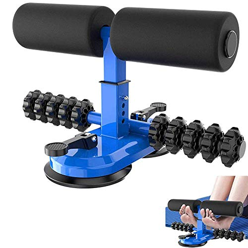 FASHLOVE Sit-Up-Stange für den Boden, verbessertes Sit-Up-Hilfsgerät mit Massagerolle, tragbare Sit-Up-Übungsstange mit 2 Saugnäpfen, einstellbare Sit-Up-Ausrüstung für das Bodybuilding für