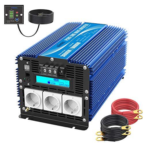 3000W Reiner Sinus Wechselrichter 12V DC auf 230V AC Spannungswandler Power Inverter mit 3 AC Steckdosen Dual 2.4A USB-Anschlüsse Fernbedienung & LCD-Bildschirm von GIANDEL