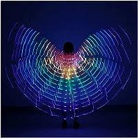 PGKCCNT 子供達 導いたベリーダンスウィングス、カーニバル、ステージ、ハロウィーン、クリスマスコスチューム、ホワイトのための携帯用スティックの翼 (Color : Colorful)