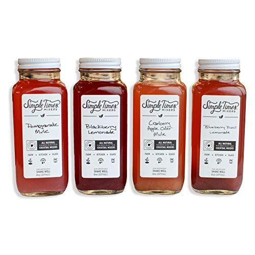 Simple Times Mixers: All-Natural Cocktail Mixers│Holiday Gift 4-Pack (32 Ounces)│Gluten Free, Vegan, Farm Fresh