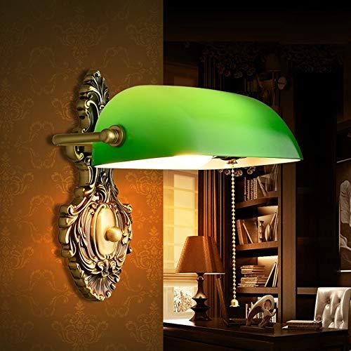 WRMING Vintage Latón Lámpara de Pared con Interruptor, Apliques de Pared Banquero Retro, Ajustable Luz de Pared para Leer Dormotorio Salon Bar Café Loft, Verde Vidrio, E27