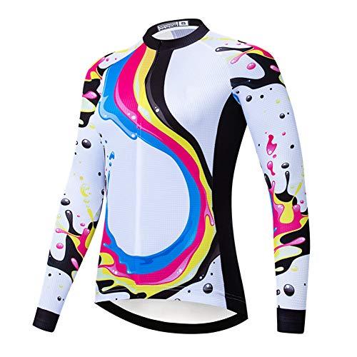 Maglia da Donna Manica Lunga da Ciclismo con tasca posteriore, Maglietta da Ciclismo traspirante Maglie Bici da MTB compresse estive per Bici estiva, temi multipli