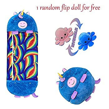 Grand sac de couchage Happy Kids super doux, chaud et amusant - 2 en 1 - Motif licorne bleue - Pour enfants de 3 à 12 ans