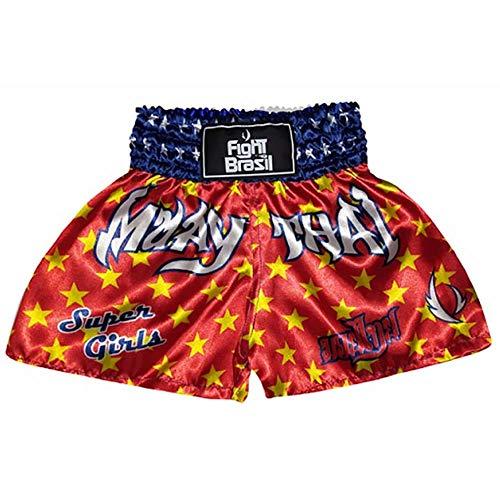 Fight Brasil Short Calção Muay Thai Kids, M, Vermelho