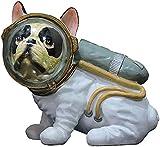 LIRONGXILY Juguete de Figuras de Perro Simulación Bulldog Resina Astronauta Dog Estatua Craftwork Creative Animal Modelo Decoración del hogar Regalo ( Size : 18x12x17.5cm )