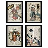 Nacnic Vintage Japan Poster 4-er Set. Vintage Stil