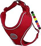 DDOXX Arnés Perro Air Mesh, Ajustable, Reflectante, Acolchado | Muchos Colores & Tamaños | para Perros Pequeño, Mediano y Grande | Accesorios Gato Cachorro | Rojo, XL