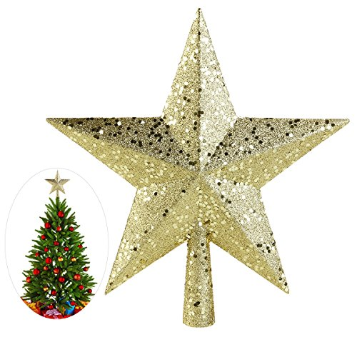 Nicexmas Puntale per albero di Natale,a forma distella, 23 cm, colore rosso, plastica, oro