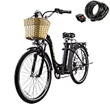 26' 250W Cargo Electric Bicycle 6-Gear Speed Sporting Ebike 36V10A Lithium Battery -Class AAA(Black)