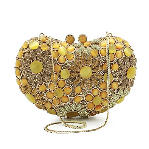 Mubolin Handmade Heart shape Crystal Evening Clutch Purse Wedding Party Hand Bags Evening Clutch Bag (Color : Gold)