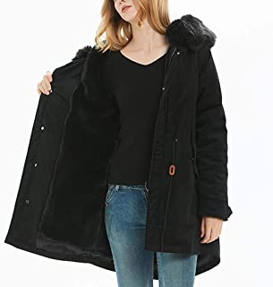 ADM6 Women's Hooded Parka Jacket, Warm Winter Down Coat with Fur Hood, Quilted Lined Outwear with 100% Faux Fur Puffer Jacket