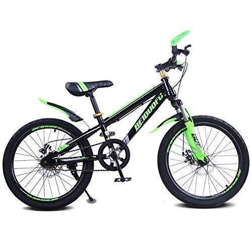 DJP Mountain Bike, Mobili da 16 Pollici con Doppio Freno a Disco Ammortizzatore Mountain Bike, Mountain Bike per Studenti, Mountain Bike per Bambini Nero e Blu 16 ',Nero e Verde