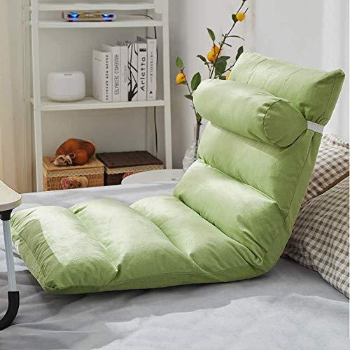 GAXQFEI High Back Floor Gaming Stuhl Mehrzweck Fußstuhl Faules Sofa Couch Bett Mit Abnehmbarer Abdeckung, Weiche Polsterung, Leicht Falten Für Jugendliche Erwachsene,Grün