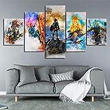 WLHZNB Leinwanddrucke 5 Panel The Legend of Zelda Spiel Poster Wandkunst Modulare Malerei Nacht Hintergrund Moderne Wohnkultur (Größe 1 Kein Rahmen)