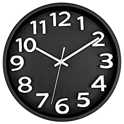 Lumuasky Large 3D Number Wall Clock, 12 inch Silent Non-Ticking Quartz Decorative Round Wall Clock Modern Style for Living Room Home Office Battery Operated (Black)