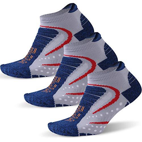 Facool No Show Athletic Socks Mens Comfort Cushion Heel Tab Coolmax Fabric Low Cut Running Hiking Trekking Jogging Sock 3 Pairs Blue/Red Large