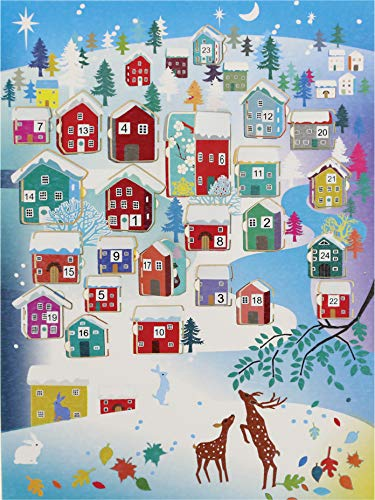FOREVER Adventskalender A5 Karte Weihnachten Grußkarte Winterdorf 15x21cm