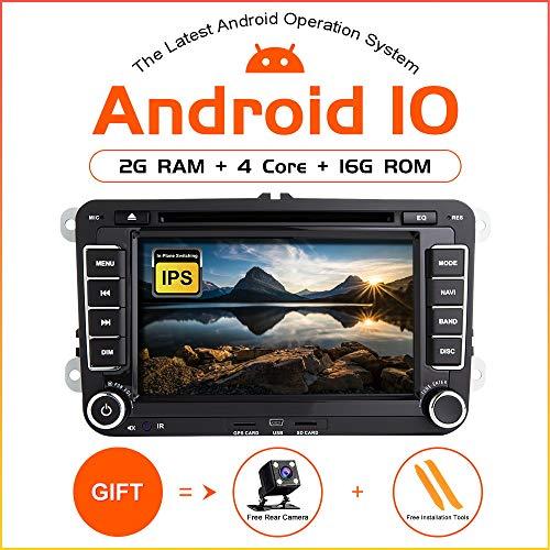 Android 10 autoradio voor VW Volkswagen Seat Skoda Tiguan Golf Caddy Navigatie GPS Stereo DVD-speler 7 inch eenheid dubbele kop DIN-ondersteuning beeldscherm Mirror Link WiFi OBD2 SWC