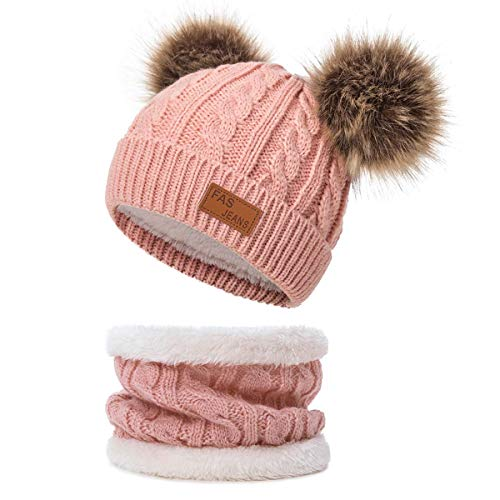 Infant Toddler Winter Hat Scarf Set for Baby Girl Knitted Warm Fleece Lined Skiing Cap Lovely Pompom Kids Beanie 0-24 Months Dark Pink