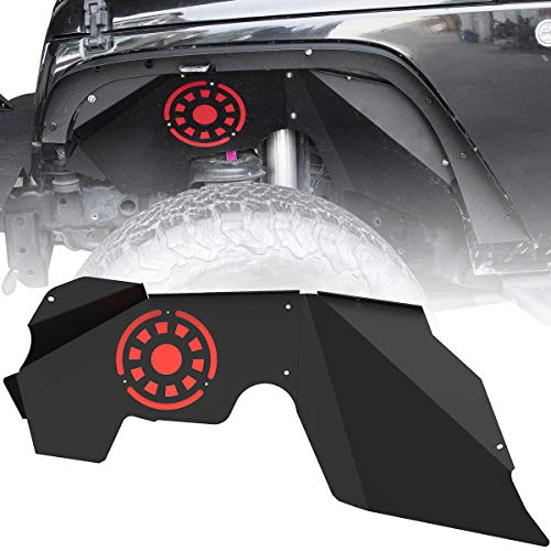 oEdRo Front Inner Fender Liners Compatible with 2007-2018 Jeep Wrangler JK & JKU Unlimited, Bolt-on Style Steel Fender Flares