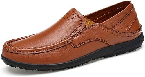 Kangfang-chaussures K-FANG, Mocassins Noirs pour Hommes Mocassins Noirs Noirs pour Hommes Mocassins Bateau pour Mocassins légers et Souples en Cuir Ox (Couleur   Marron, Taille   44 EU)