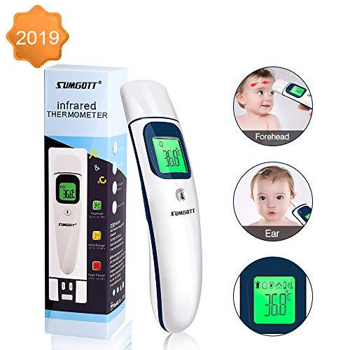 Termometro Febbre SUMGOTT Termometro Bambini Termometro Digitale Fronte e Orecchio, Termometro a Infrarossi, Allarme Temperatura Elevata, Multifunzione 4 in 1 per Bambini, Adulti e Oggetti
