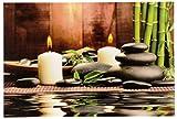 Geschenkestadl Großes LED Wandbild Bambus mit Steingarten und Kerzen beleuchtet 60 cm x 40 cm Feng Shui