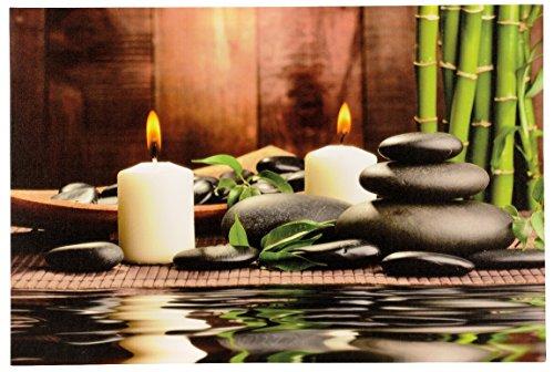 Großes LED Wandbild Bambus mit Steingarten und Kerzen beleuchtet 60 cm x 40 cm Feng Shui