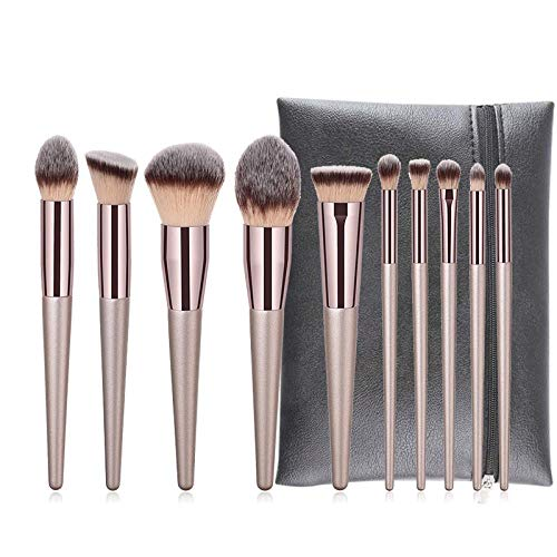 MEIMEIDA 10Pcs Professional Makeup Brushes High Quality Kabuki Foundation Powder Eyeshadow Brush Set With Black Bag Beauty Tool, 10Pcs Brush With Bag
