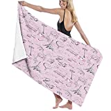 Paris Beach Towels Microfiber Bath Towels,Paris Themed Sketch,Travel Accessories Gifts,Cute Beach Towel for Women,Cool Beach Towels for Men,Large Towels for Adults,Pink White Black