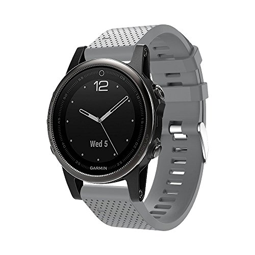 Huamecl Soft Silicone Sport Replacement Strap for Garmin Fenix 5s-Gray(tracker is not included)