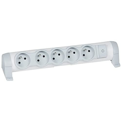 Legrand LEG50081 Rallonge bloc 5 x 2P + T sans câble avec interrupteur