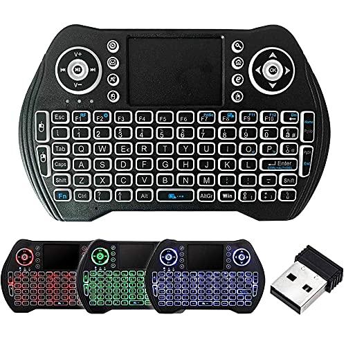 Mini tastiera retroilluminata FYUN, mini tastiera wireless da 2,4 GHz con combinazione mouse touchpad, controller ricaricabile, compatibile con Android TV Box, IPTV, HTPC, Smart TV, PC, X-Box
