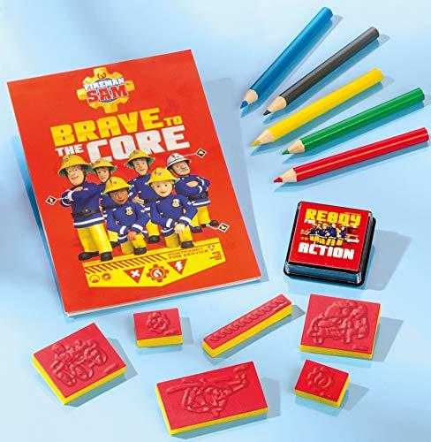 Feuerwehrmann Sam Stempel-Set mit verschiedenen Stempeln und einem tollen Malblock und schönen Buntstiften