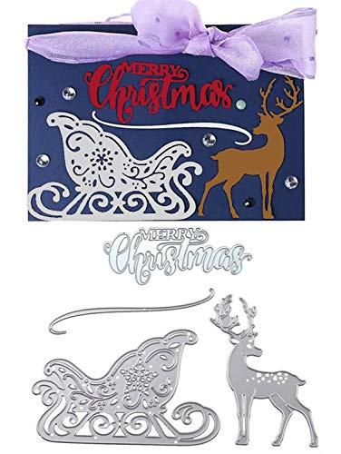 Merry Christmas Reindeer Sledding Die Cuts Metal Set - Christmas Deer Cutting die Stencils for Cards Making Album DIY Scrapbooking Paper