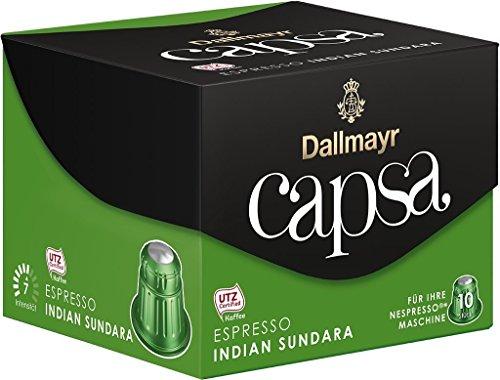 Dallmayr CAPSA Kapseln Espresso/Lungo - Für Ihre NESPRESSO® Maschine (10 Kapseln / 14 Varianten) GESCHMACKSRICHTUNG FREI WÄHLBAR (Espresso Indian SUNDARA (Stärke 7))