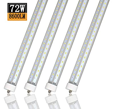 8FT LED Tube Light,T8 V Shaped Double Row Light 72W,5000K 8600LM,FA8 Single Pin LED Lights, 120W Equivalent Replacement Fluorescent Bulbs (4Pack)