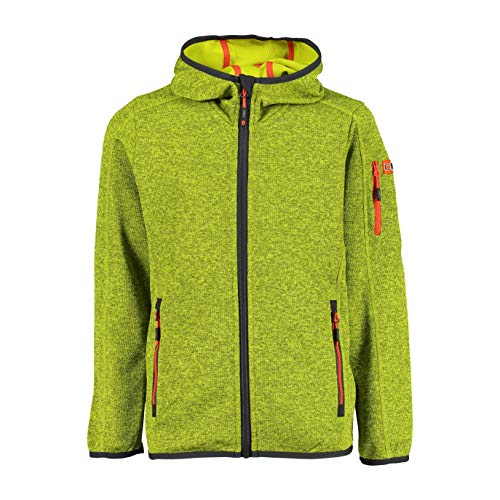 CMP Jungen Hooded Knit Tech Fleece Jacke, Cactus-Lime, 164