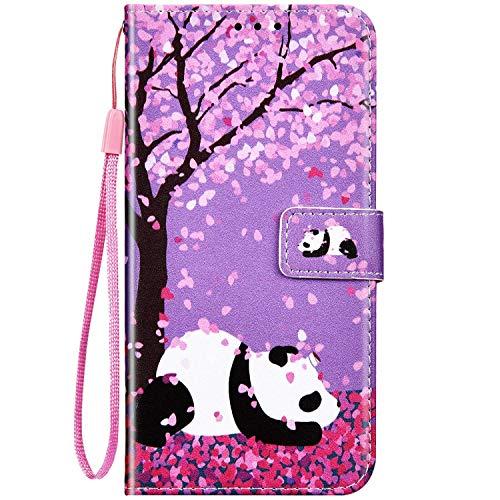 QPOLLY Coque Compatible avec iPhone 7/8/SE 2020 Etui à Rabat, Housse de Protection Portefeuille en Cuir PU Flip Magnétique Pochette Cover Motif avec Fonction Support et Fentes pour Cartes,Panda-1