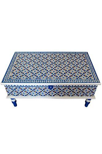 Marokkanischer Tisch Couchtisch Dimana 100cm Bunt | Orientalischer Holz Sofatisch orientalisch handbemalt | Indischer Wohnzimmertisch Truhentisch mit Stauraum | Asiatische Möbel aus Indien - 4