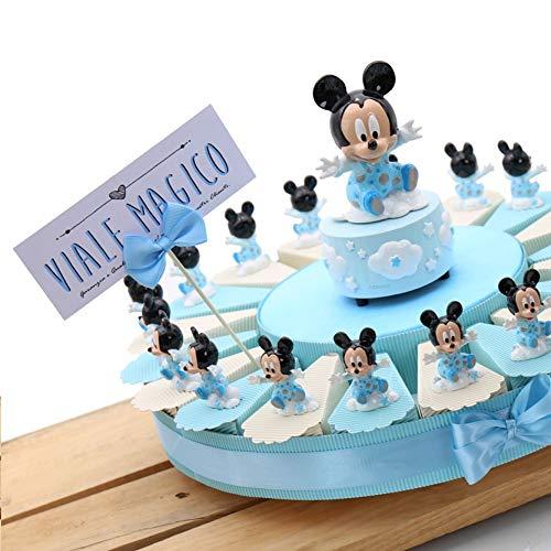 VialeMagico Bomboniere Disney Topolino Nascita Battesimo 1 Compleanno Bimbo Torta Statuina Nuvola (Torta 20 fettine)