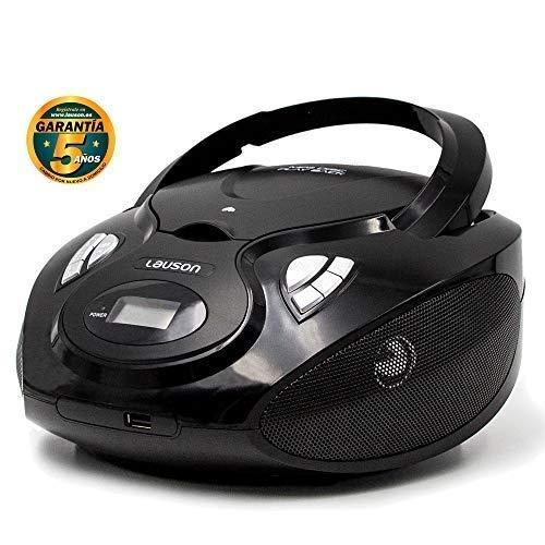 Lauson Radio y Reproductor de CD Portátil con USB | Radio FM | USB y Mp3 | CD Player con Salida para Auriculares 3.5mm | CP635 (Negro)