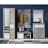 ROCKY Garderoben Set in Silber-Eiche Optik - moderne Softclose Flurgarderobe für Ihren Eingangsbereich - 270 x 201 x 38 cm (B/H/T) - 5