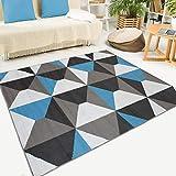 Tapiso Maya Alfombra de Salón Sala Diseño Moderno Azul Gris Blanco Negro Geométrico Trapecios Mosaico 140 x 200 cm