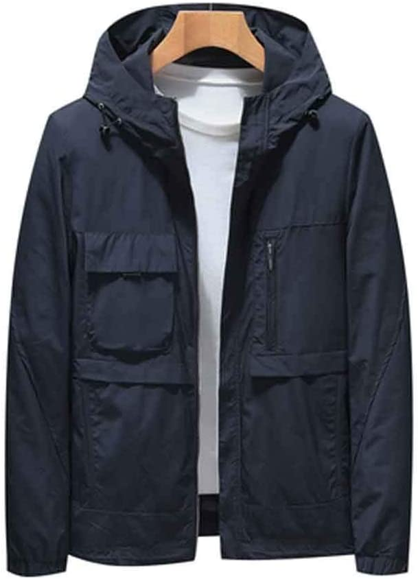 DJASM fzwt Spring and Autumn Men's New Casual Workwear Jacket Young and Middle-Aged Hooded Thin Jacket (Color : A, Size : Large)