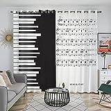 HAOGG Cortinas Térmicas Opacas Modernas - 3D Notas Musicales Piano Blanco Y...