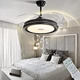 LCiWZ Invisible Ceiling Fan with Lights,42in Smart Bluetooth Music Ceiling Fan with Remote Control,3 Colors(Warm,Medium,White),72W Reversible Telescopic Blade,Timing,6Files,For Living room,restaurant