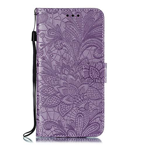 Hülle für Motorola One Zoom Lederhülle Flip Tasche Klappbar Handyhülle mit [Kartenfächer] [Ständer Funktion], Cover Schutzhülle für Motorola Moto One Zoom - JEEB021167 Violett