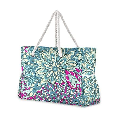 Bolsas de playa grandes Totes lona Tote bolsa de hombro patrón mandala resistente al agua bolsas para gimnasio viaje diario 004